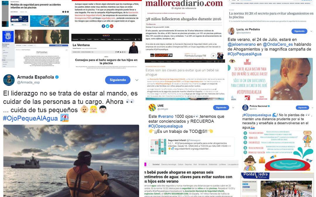 La campaña preventiva para evitar ahogamientos infantiles #OjOPequealAgua se hace viral en redes